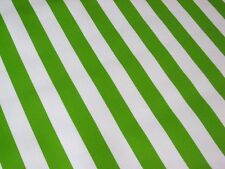 LIME KIWI GREEN WHITE CABANA STRIPE PICNIC BBQ OILCLOTH VINYL TABLECLOTH 48x96