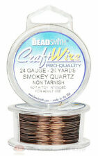 Smoky Quartz 24GA Round Craft Wire Jewelry Beading Wrapping Jump Rings 20 Yds