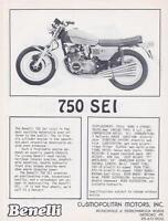 1973 Benelli 750 Sei 6 cylinder + 500 Quattro original 2 page USA sales brochure