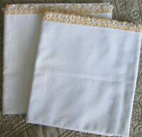 SET OF 2 VINTAGE WHITE PILLOWCASES WITH YELLOW & WHITE TATTED EDGES