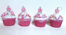 S/4 CUPCAKE ORNAMENTS TREE CANDY CANE PEPPERMINT XMAS DECOR WREATH gingerbread