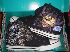 ED HARDY HIGH SHOES LOVE KILL SLOWLY SKULL AND TIGER NEW WITH BOX MEN SIZE 11