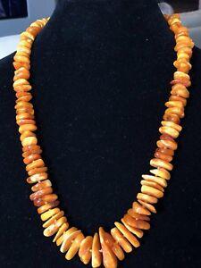 "Vintage Natural BUTTERSCOTCH BALTIC AMBER Graduated Necklace 24"""