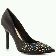 GUESS PLASA POINTED TOE PUMPS BLACK LEATHER WITH EMBELLISHMENTS DETAILS SIZE 5