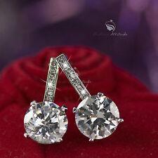 18k white gold gp made with SWAROVSKI crystal stud earrings dangle 2ct