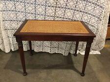 Antique Mahogany Caned Seat Vanity Bench