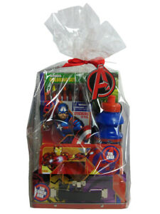 Marvel Comics Avengers Set Tin Lunchbox Coloring Sticker Book Water Bottle Case