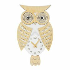 NEW Novelty Wooden Owl Wall Clock with Moving Pendulum Tail Home Kitchen Gift