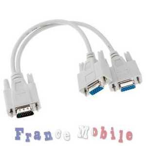1 VGA à 2 VGA Femelle Splitter Câble 2 Voies VGA SVGA Moniteur Double Vidéo