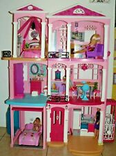 Mattel Barbie 3 Story fully furnished Pink House with car & 4 dolls
