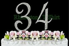 Large Rhinestone NUMBER (34) Cake Topper 34th Birthday Wedding Party Anniversary