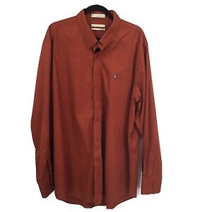 Nordstrom Orange Dress Shirt XXL Long Solid Long Sleeve Mens Cotton