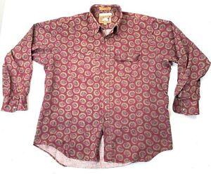 Vintage 80s Chaps Ralph Lauren Frontier Western Aztec Button Up Shirt Size XL