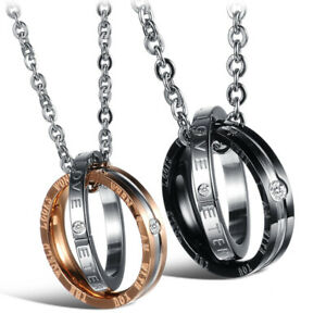 Stainless Steel Couple's Pendant Necklace Fashion Jewellery Gift for Women Men