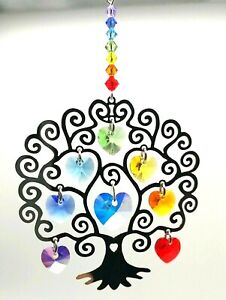 Chakra Tree of Life Heart Crystal window hanging rainbow maker suncatcher