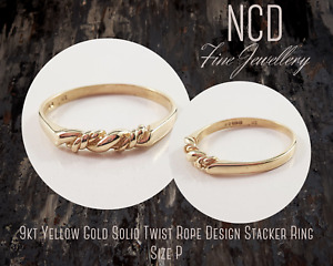 NC Designs Genuine 9kt Yellow Gold Solid Twist Rope Design Stacker Ring Size P