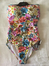Isola Ruched Bandeau Maillot Dahlia One Piece. Size 16.