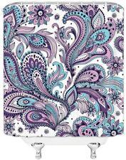 Blue Purple White Paisley Boho Chic Fabric Shower Curtain Pretty Elegant Cute