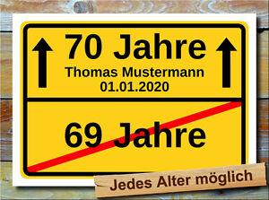 Personalisiertes Geschenk - 70. Geburtstag - Ortsschild Bild Deko Wunschtext