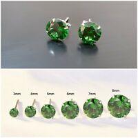 925 SOLID STERLING SILVER STUD EARRINGS GREEN CUBIC ZIRCONIA EARRINGS MEN WOMENS