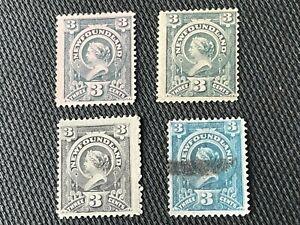 Four Antique Newfoundland Stamps Scott #60 MH, $60a Used c.1890 CV$150