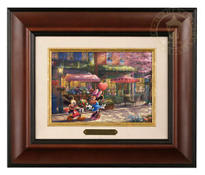 Thomas Kinkade Studios Mickey and Minnie Sweetheart Cafe Brushwork (Framed)