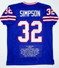 O. J. Simpson Autographed Blue Pro Style Stat2 Jersey With HOF- JSA W Auth *2