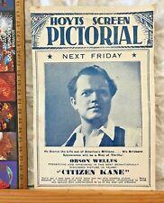 VINTAGE 1941 REGENT BRISBANE MOVIE FLYER PRAISE FOR CITIZEN KANE! ORSON WELLES +