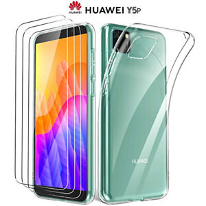 Cover For Huawei Y5p Case TPU Slim Silicone + Film Tempered Glass 9H