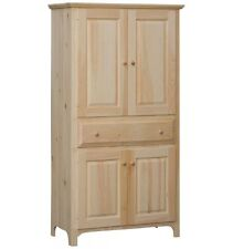 "AMISH Unfinished Pine 72"" Rustic 4 Door EXTRA LG RUSTIC COUNTRY Pantry Cabinet"