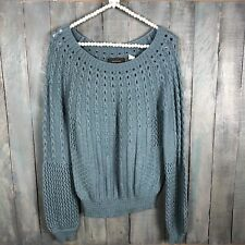 Anthropologie Guinevere Sz M Purl Wise Sweater Blue Teal Cable knit Pullover