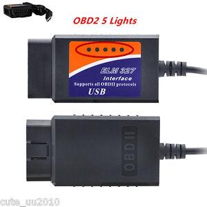 ELM327 OBDII USB Car Auto Scanner Tool Diagnostic Scan Code Reader 5 Lights 2016