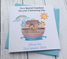 Personalised Noah's Ark Design  Christening Card - Grandson, Godson, Nephew