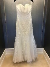 Unique Ivory & Silver Thread Lace Mermaid Strapless Wedding Dress Size 10
