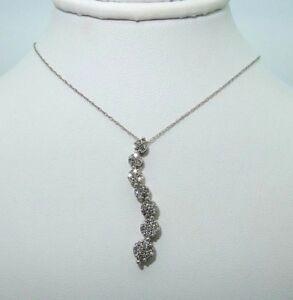 "Sparkling 10Kt White Gold & Diamond Journey Pendant- 3.0g - .50 TCW - 18.5"" WOW!"