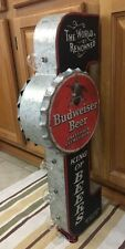 Budweiser Double Sided Light Sign Vintage Style Gas Oil Garage Tap Beer Brew 2