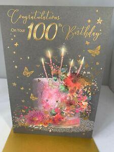 Happy 100th Birthday Card Foil - Premium Quality- Cherry Orchard