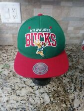 Milwaukee Bucks Harwood Classic Mitchell & Ness Hat Snapback Green/Red NEW