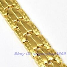 """8.7""""12mm42g REAL EXALTED MEN 18K YELLOW GOLD GP BRACELET SOLID FILL CHAIN V11"""
