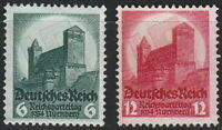 Stamp Germany Mi 546-7 Sc 442-3 1934 War Reich War Nuremberg Party MH