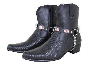 Men Cowboy USA Charm Pair Boot Silver Chain Black Faux Leather Strap Shoe Biker