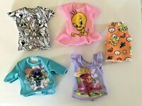 Barbie Fashion Clothes LOT of 5 TOPS Cartoon Characters -  NEW, DEBOXED