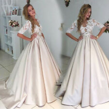 Champagne Satin Wedding Dresses Lace Top A-line Bridal Gown Half Sleeves 2-26W