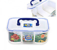 Clear Airtight Food Storage Containers Bento 3 Divider Rectangle Handle 1.2L
