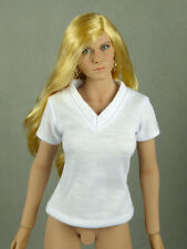 1/6 Phicen, Hot Toys, Kumik, Cy, Nouveau Toys - Female White V-Neck T-Shirt