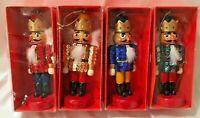 "4 Christmas Nutcracker Kings Box Set Multi Colored Sequined Ornaments 5""H x 2""W"
