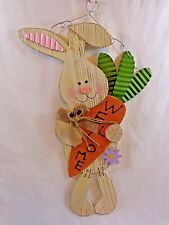 "WELCOME WHITE BUNNY Wall Hanging 20"" Carrot Distressed Wood Tin Easter Decor"