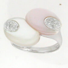 14k White Gold Twin Mother of Pearls Diamond Ring Size 7 0.18 Cts