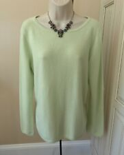 Talbots Pure Cashmere Long Sleeve Lime Green Sweater ~ Women's Large EUC!
