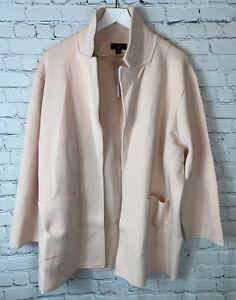 NWT J. CREW 365 Womens' Sophie Pink Open-Front Sweater-Blazer Jacket Sz 2X $148.